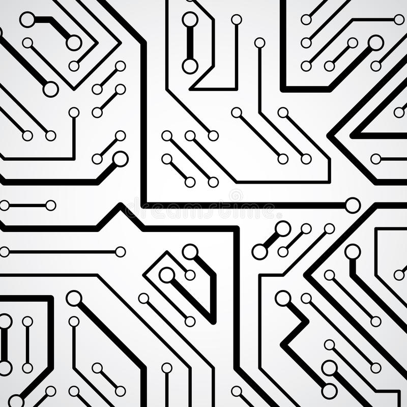 Circuit board futuristic cybernetic texture, information communication technology vector background. Computer motherboard web vector illustration