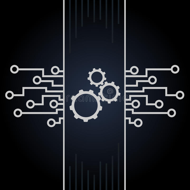 Circuit board and gears vector on black background. Motherboard and computer design. Illustration vector illustration