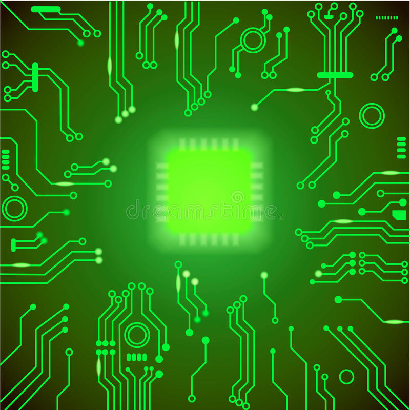 Circuit board green background. motherboard. Processor and chip, cpu computer design, illustration royalty free illustration