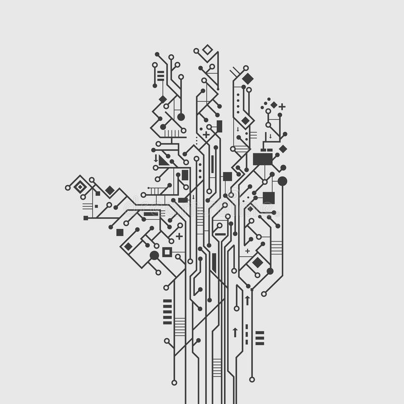 circuit board hand stock vector  illustration of flyer