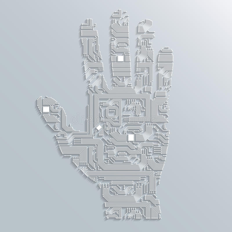 Download Circuit board hand stock vector. Illustration of grey - 39505856