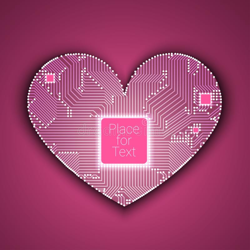 Circuit board heart with processor inside stock illustration