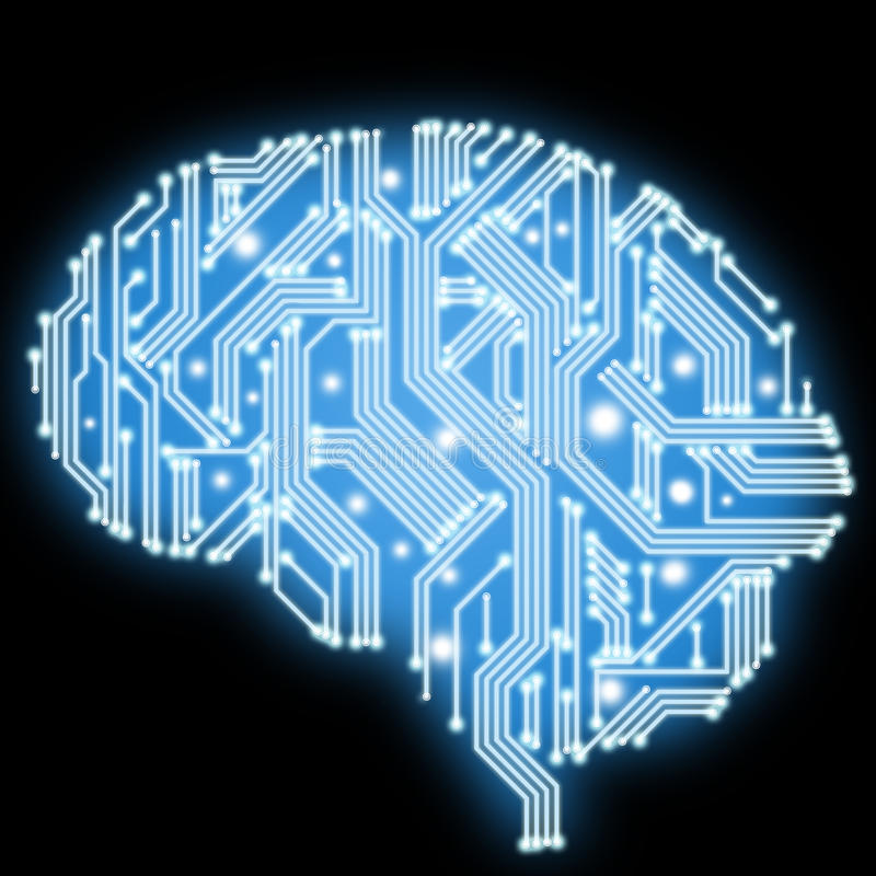 Circuit board in human brain form. Technological illustration. royalty free illustration