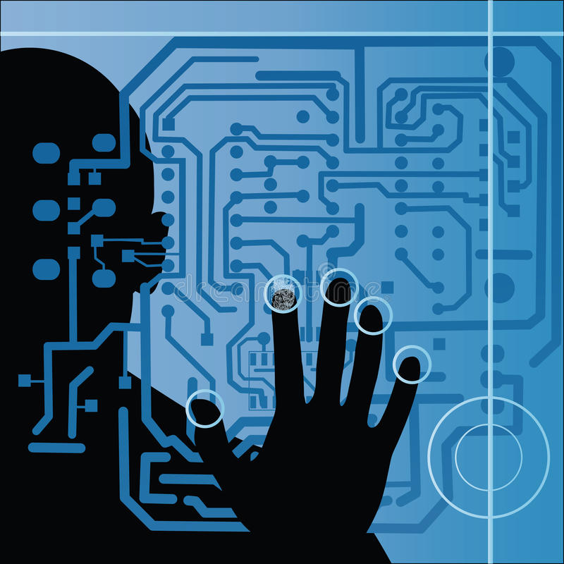 Circuit board with human silhouette and hand royalty free illustration