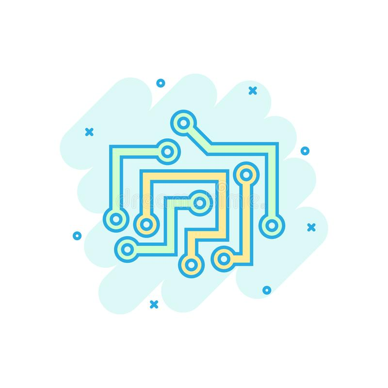 Circuit board icon in comic style. Technology microchip vector cartoon illustration pictogram. Processor motherboard business royalty free illustration
