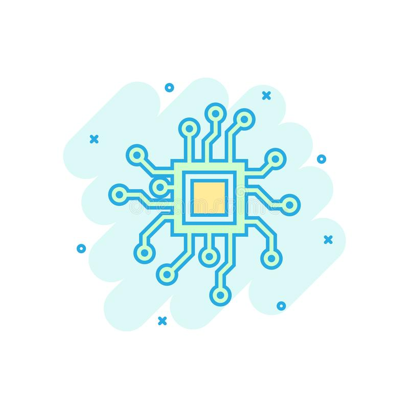 Circuit board icon in comic style. Technology microchip vector cartoon illustration pictogram. Processor motherboard business. Concept splash effect stock illustration