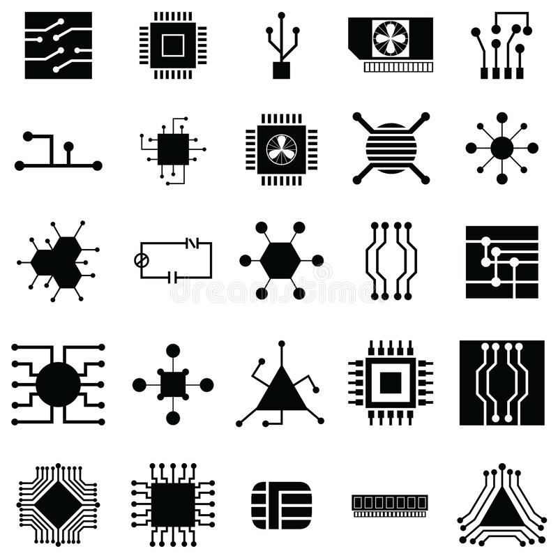 Circuit board icon set royalty free illustration