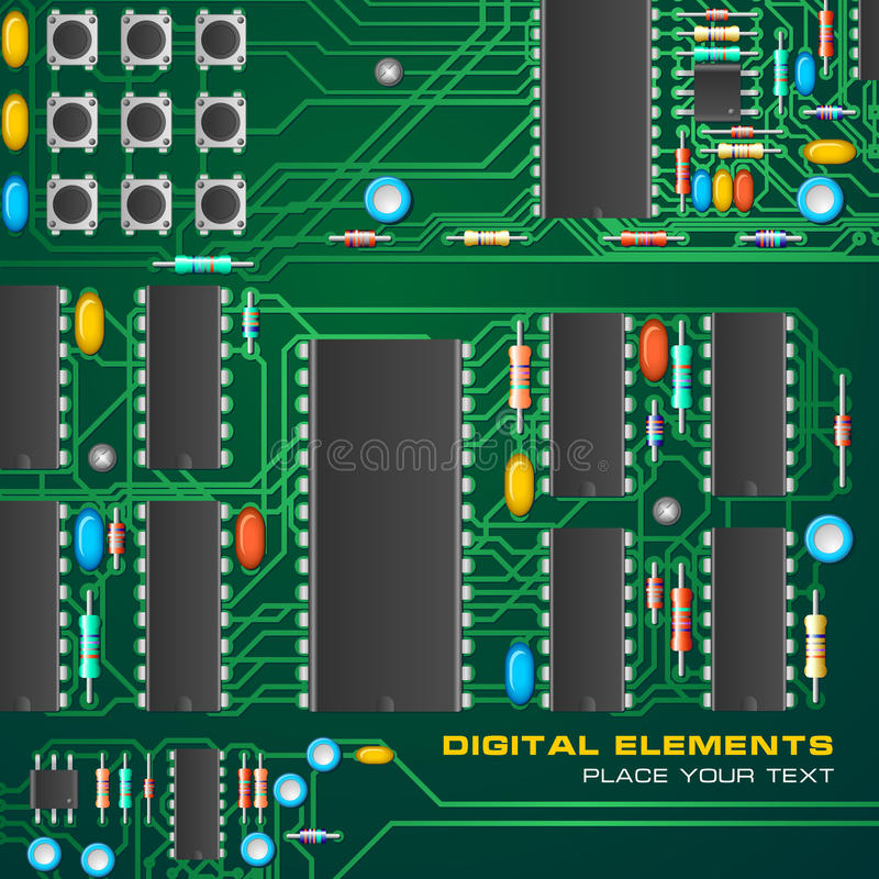 Download Circuit Board With Microchips Stock Vector - Image: 9399951