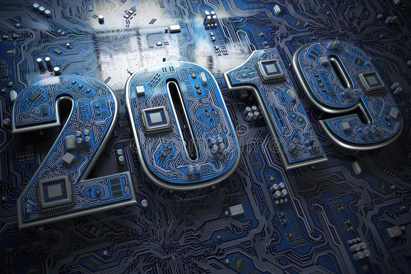 2019 on circuit board or motherboard with cpu. Computer technology and internet commucations digital concept. Happy new 2019 year. stock illustration