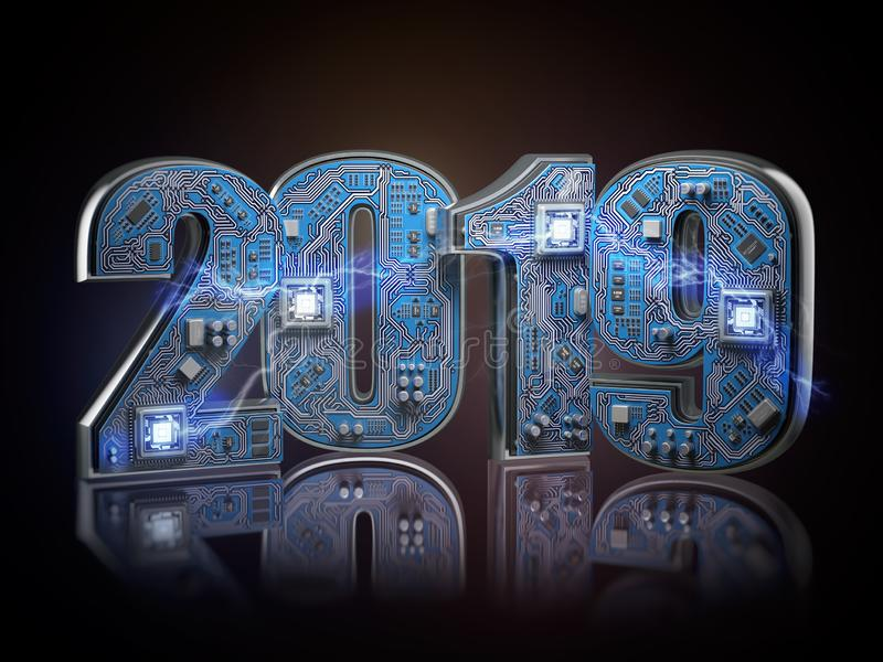 2019 on circuit board or motherboard with cpu. Computer technology and internet commucations digital concept. Happy new 2019 year. royalty free illustration