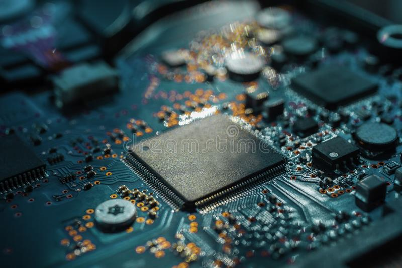 Circuit board.Motherboard digital chip. Electronic computer hardware technology.Integrated communication processor.Information royalty free stock photography