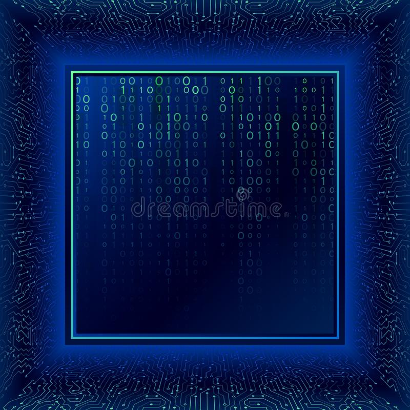 Circuit board in perspective. Binary code digital technology. Circuit board in perspective. Abstract 3d electronic scheme on blue background. Binary code digital vector illustration