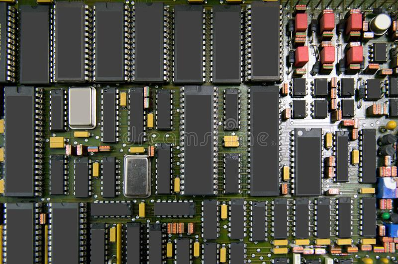 Circuit board. Printed circuit board with electronics parts royalty free stock photos