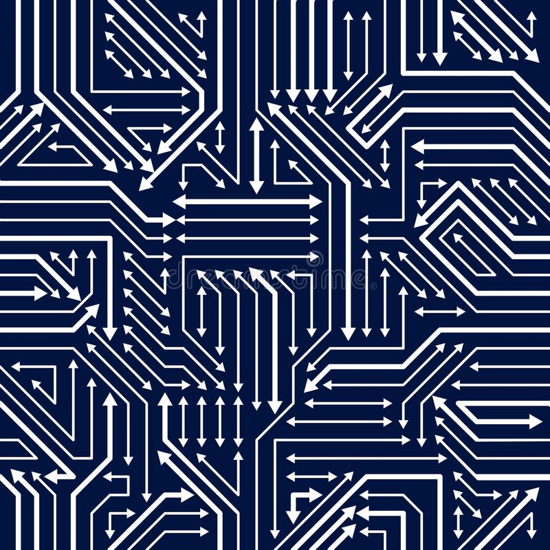 Circuit board seamless pattern, vector background. Microchip technology electronics wallpaper repeat design. stock illustration
