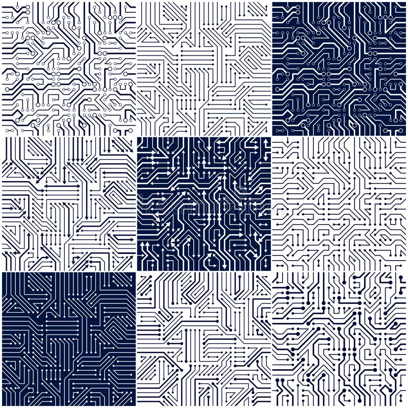 Circuit board seamless patterns set, vector backgrounds collection. vector illustration