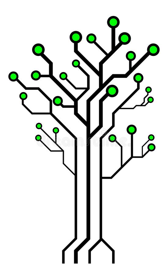 circuit board shaped tree  technology tree stock vector
