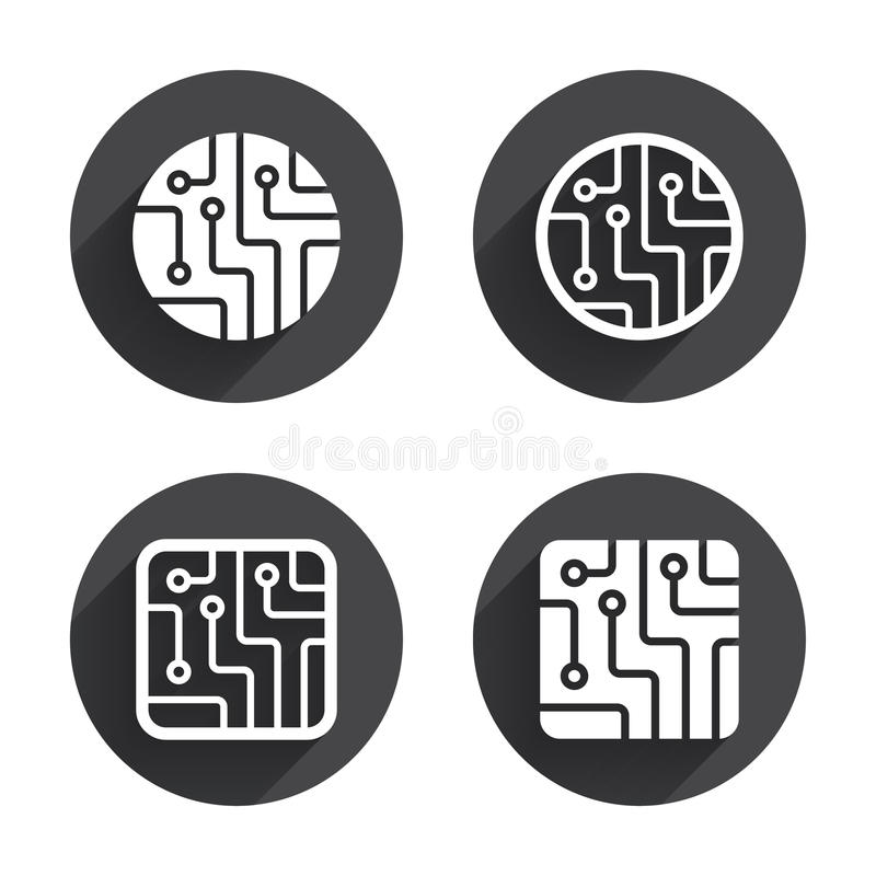 Free Circuit Board Signs. Technology Scheme Icons Stock Image - 58357201