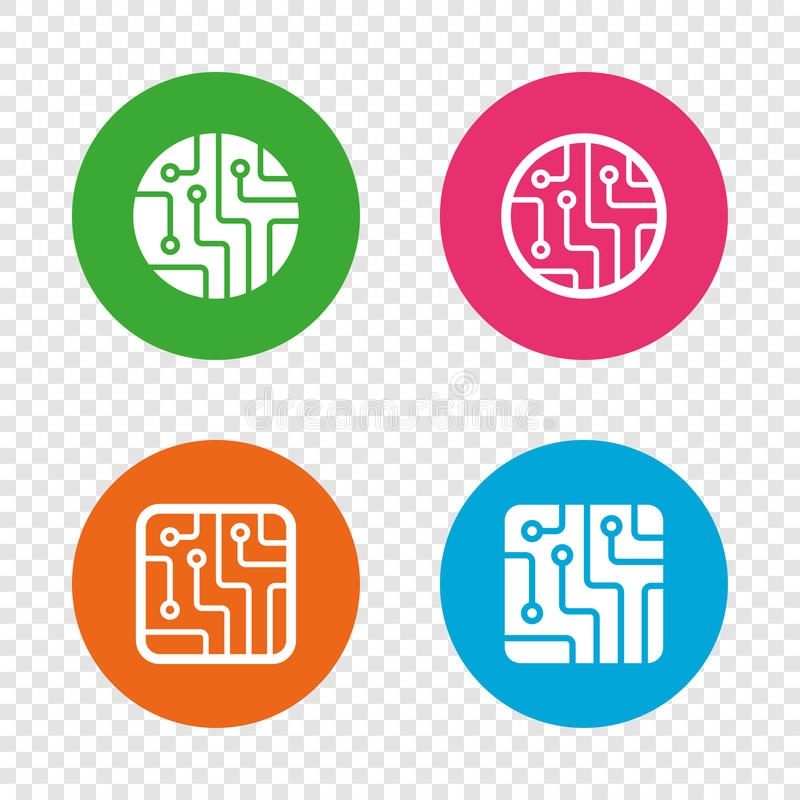 Free Circuit Board Signs. Technology Scheme Icons. Royalty Free Stock Images - 93467469