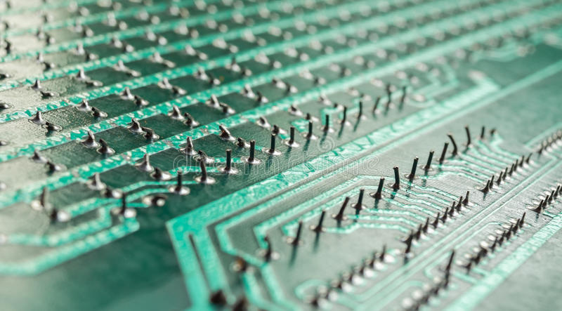 Circuit board. Solder joints macro royalty free stock photography