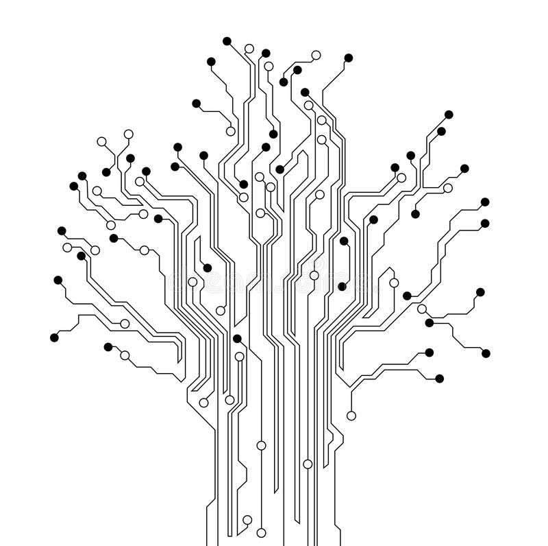 circuit board tree background stock illustration