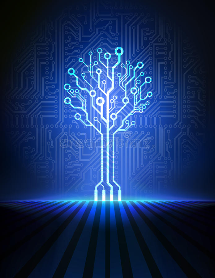 Free Circuit Board Tree. Vector Background Royalty Free Stock Photography - 34045237