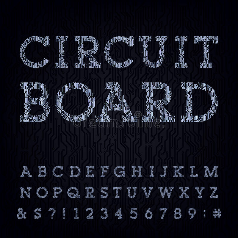 Circuit Board Type Font. Vector Alphabet. Stock Vector ...