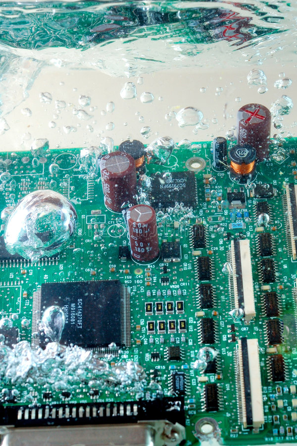 Circuit board under water royalty free stock image