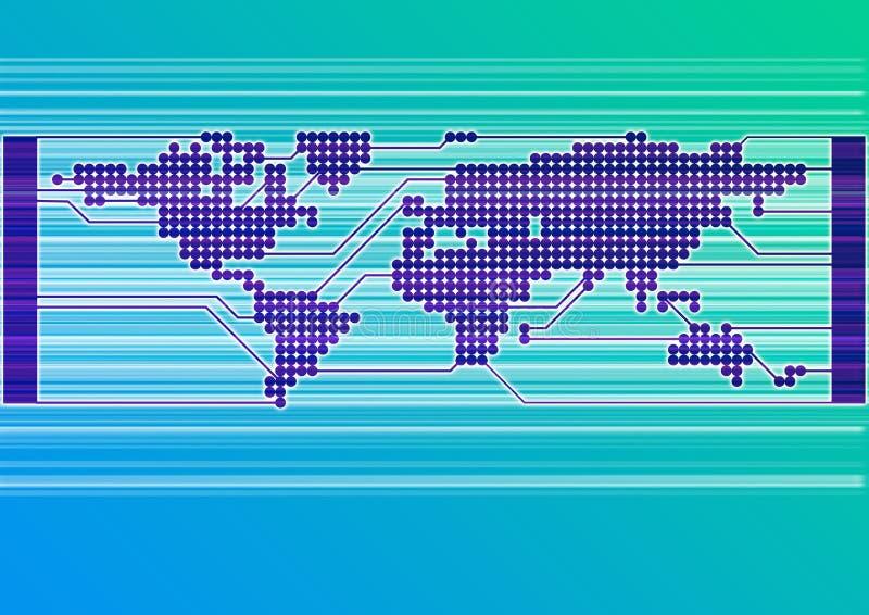 Circuit Board World blue vector illustration