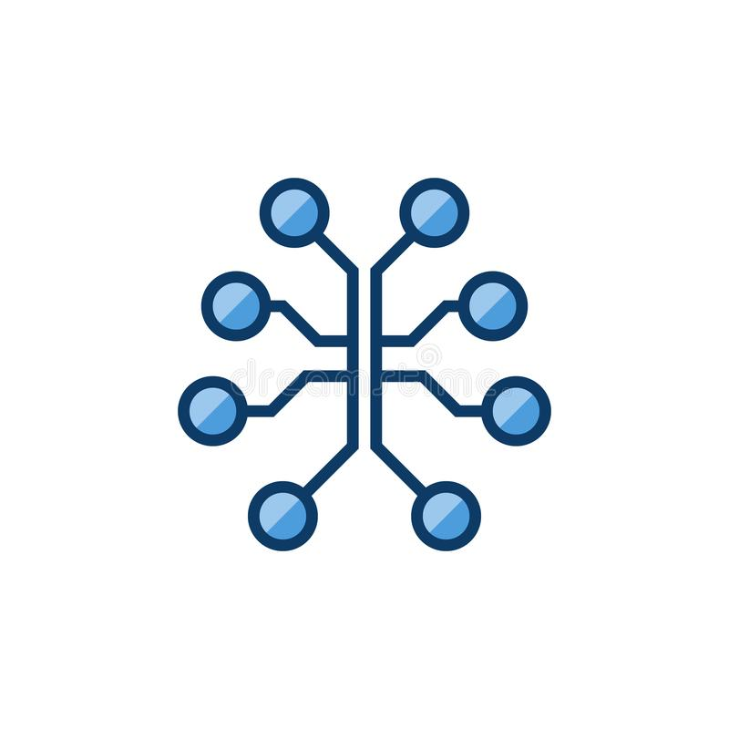 Circuit brain colored icon. Vector digital brain sign vector illustration