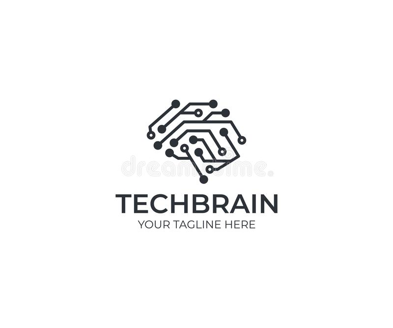Circuit brain logo template. Artificial intelligence vector design royalty free illustration