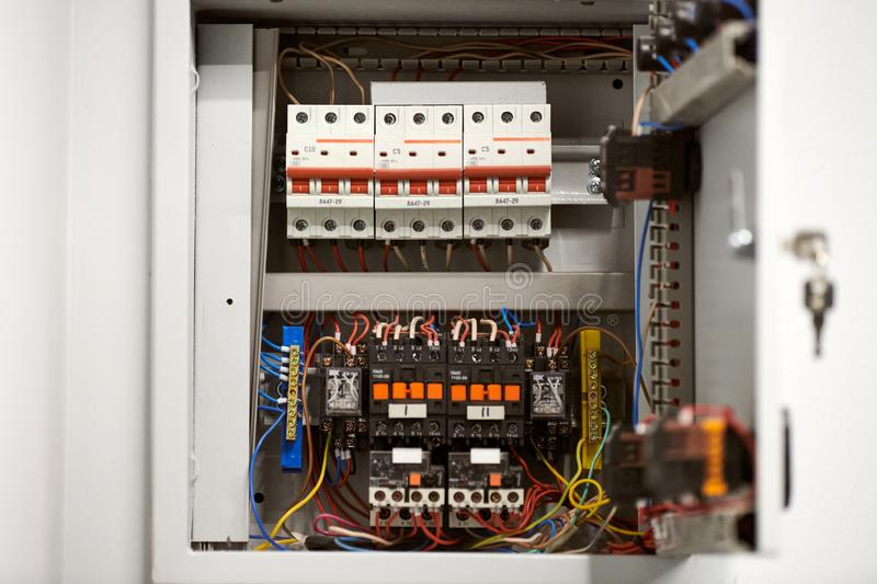 Circuit breaker in switch box. Control voltage switchboard. Distribution board for control electrical voltage in house or office stock photo