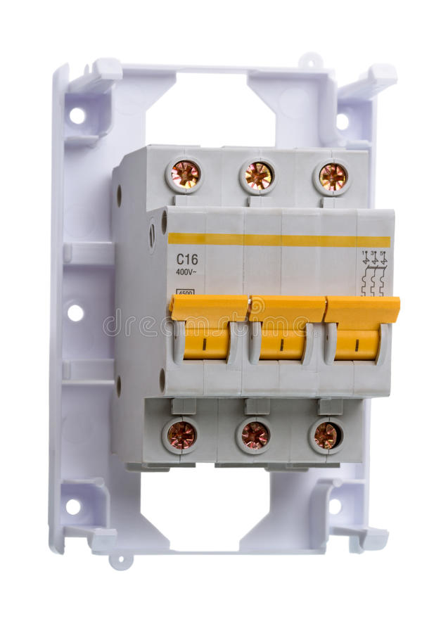 Circuit breaker three phase on white stock photo image for Used hot water heater