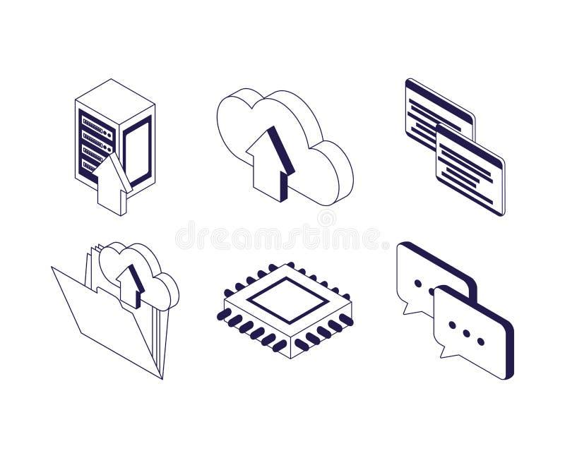 Circuit chat website folder data server technology internet vector illustration