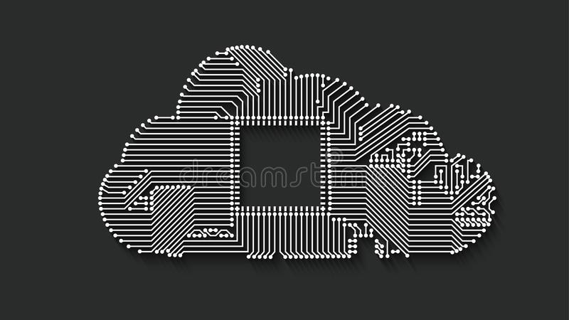 Circuit cloud computing. Concept with long shadow for your design vector illustration