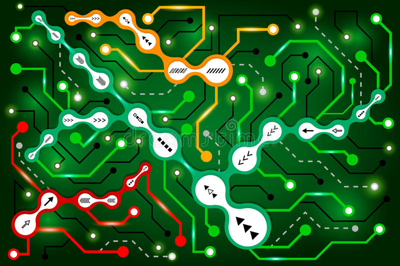 Circuit communication technology background. Digital techno modern concept. Abstract connection colorful metaball. High computer futuristic background. Vector stock illustration