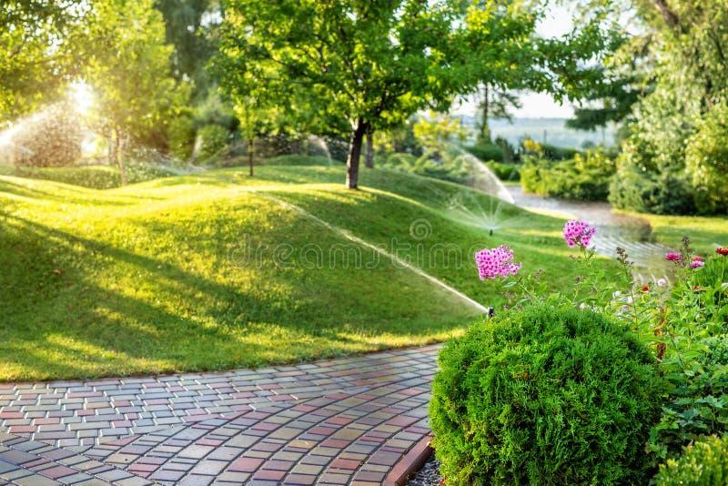 Circuit de refroidissement automatique de jardin avec différentes arroseuses installées sous le gazon Conception de paysage avec  image libre de droits