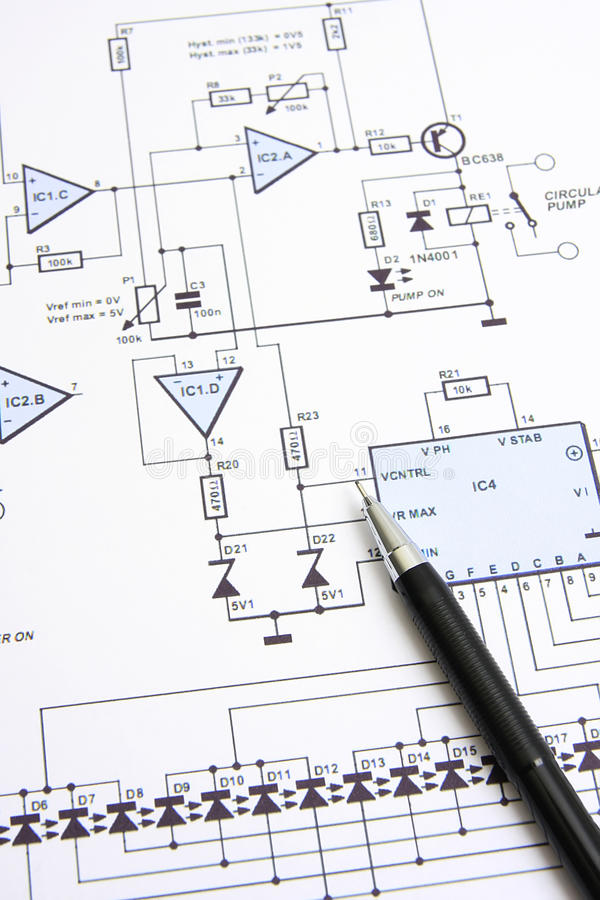 Circuit diagram. Electronic circuit design diagram and pencil on paper stock photography