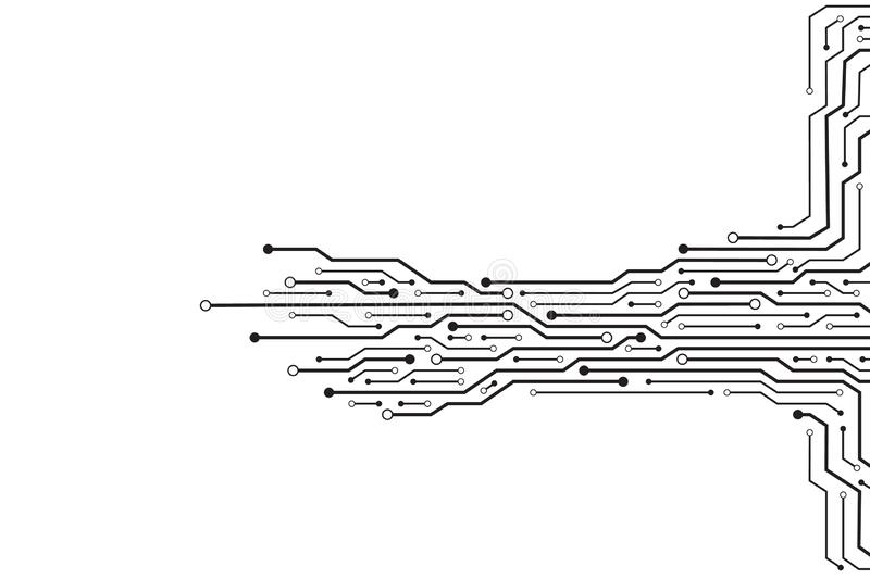 electronic circuit on white background stock vector