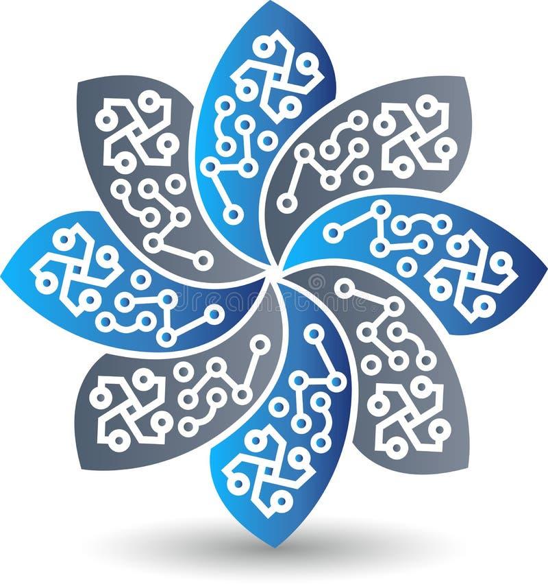 Circuit flower logo royalty free illustration