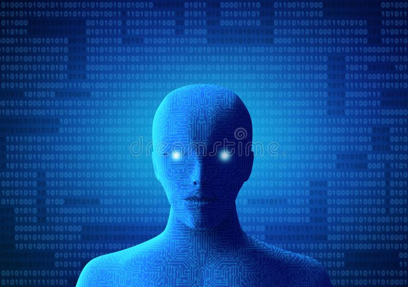 Circuit human with binary code on blue background. Artificial in royalty free illustration