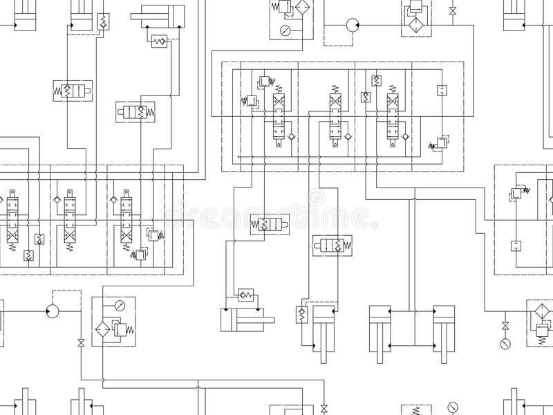 Circuit hydraulique de machine Répétition du modèle sans couture pour la conception technique illustration libre de droits