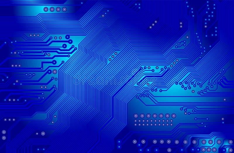Circuit imprimé dans le bleu illustration stock