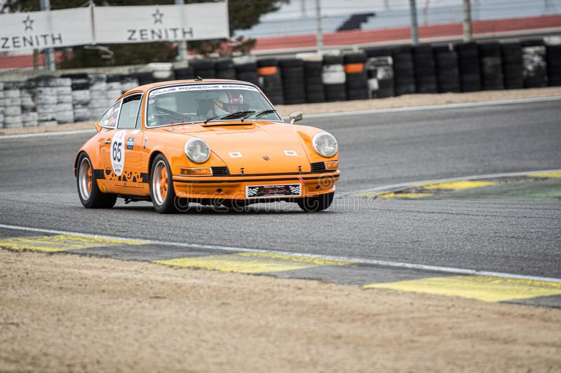 Circuit of Jarama, Madrid, Spain; April 03 2016: Porsche 911 3.0 RS in a classic cars race stock photography