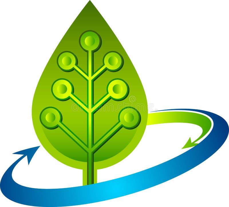 Circuit leaf logo stock illustration