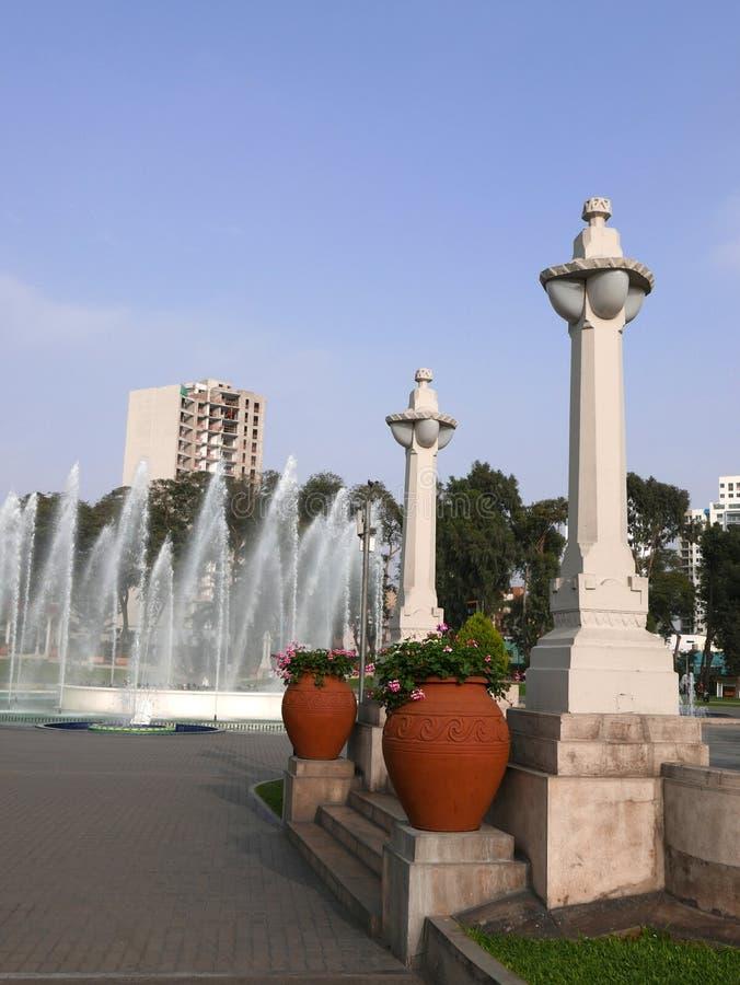 Circuit magique de l'eau et une grande fontaine à Lima images stock