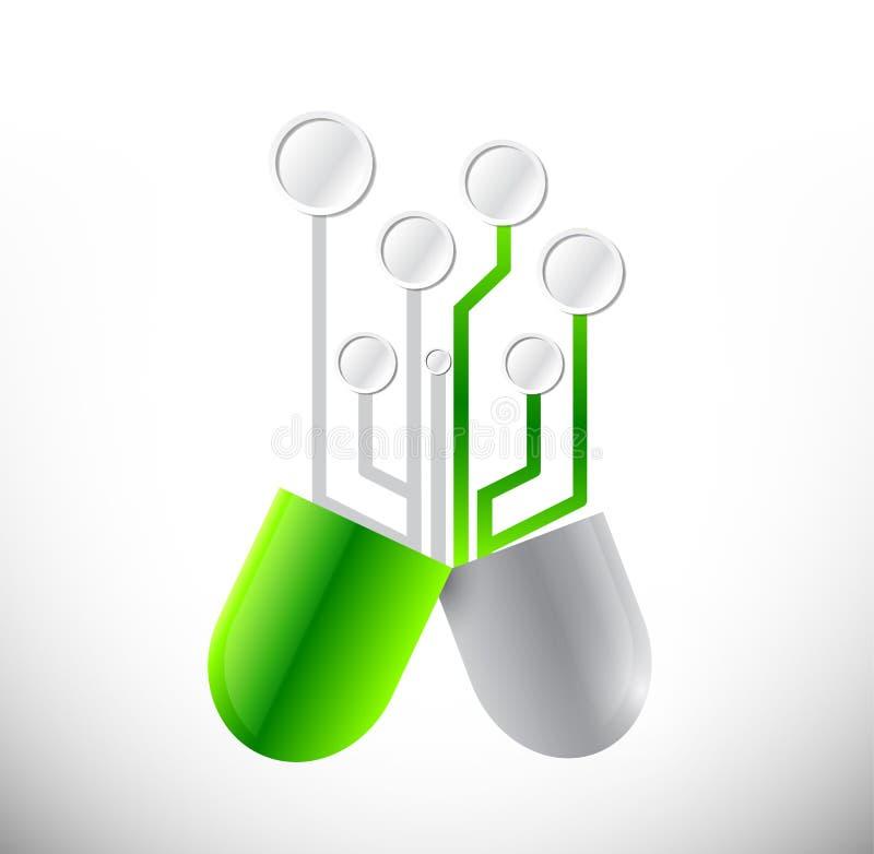 Circuit pills illustration design royalty free illustration