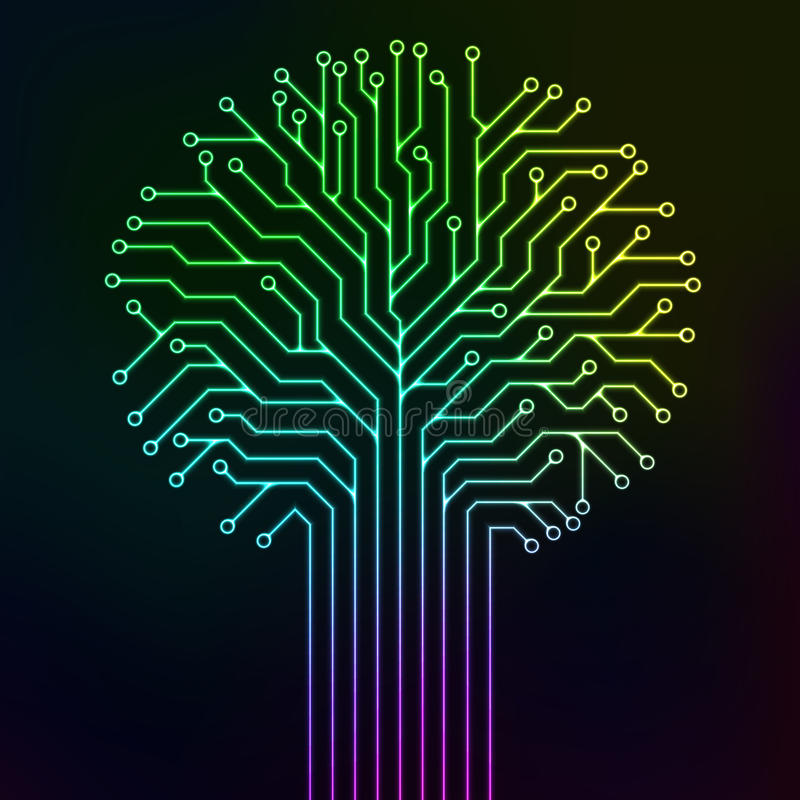 Circuit tree multicolor neon. Circuit printed board in the shape of a tree with multicolor neon lines royalty free illustration
