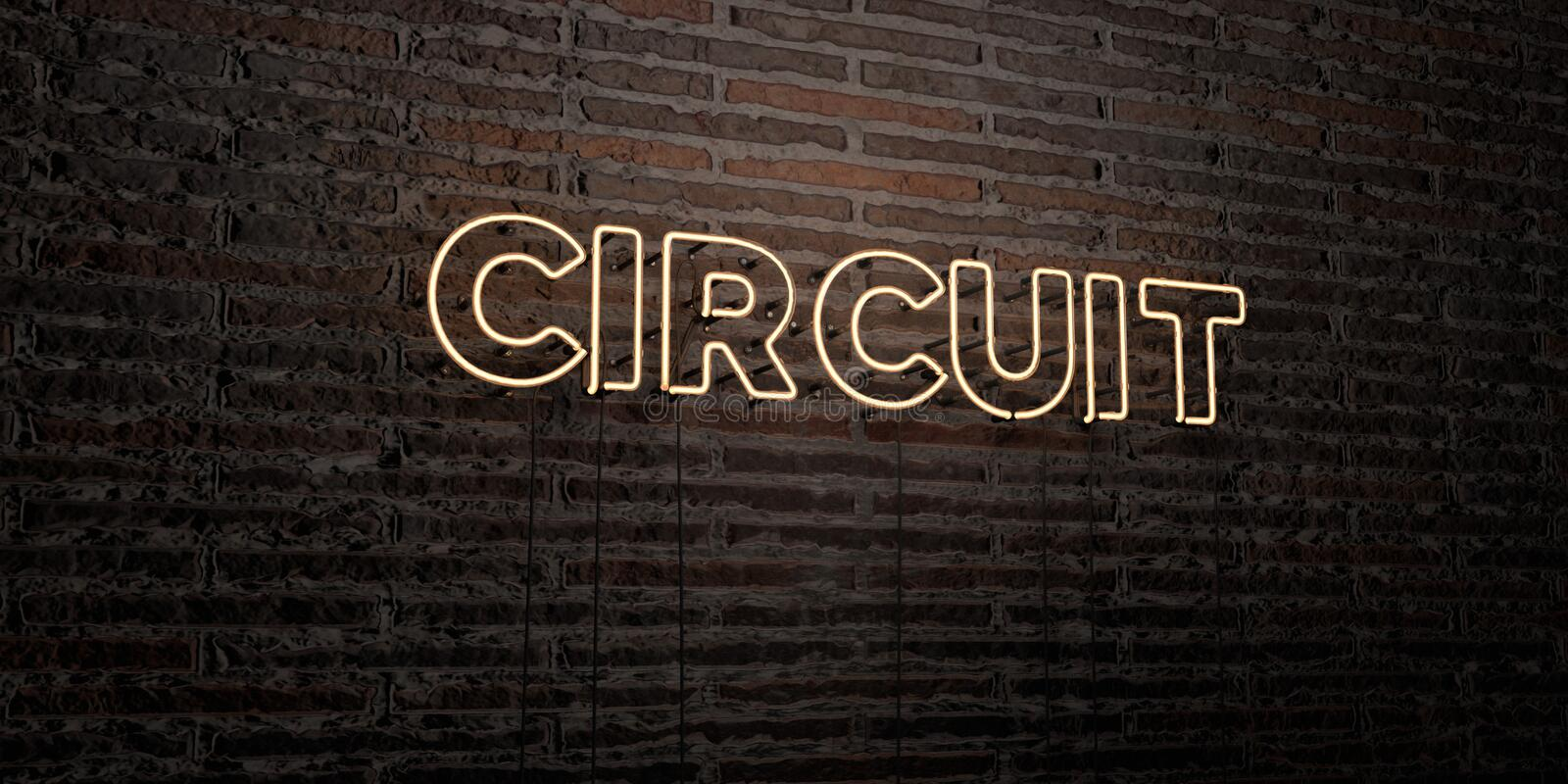 CIRCUIT -Realistic Neon Sign on Brick Wall background - 3D rendered royalty free stock image stock illustration