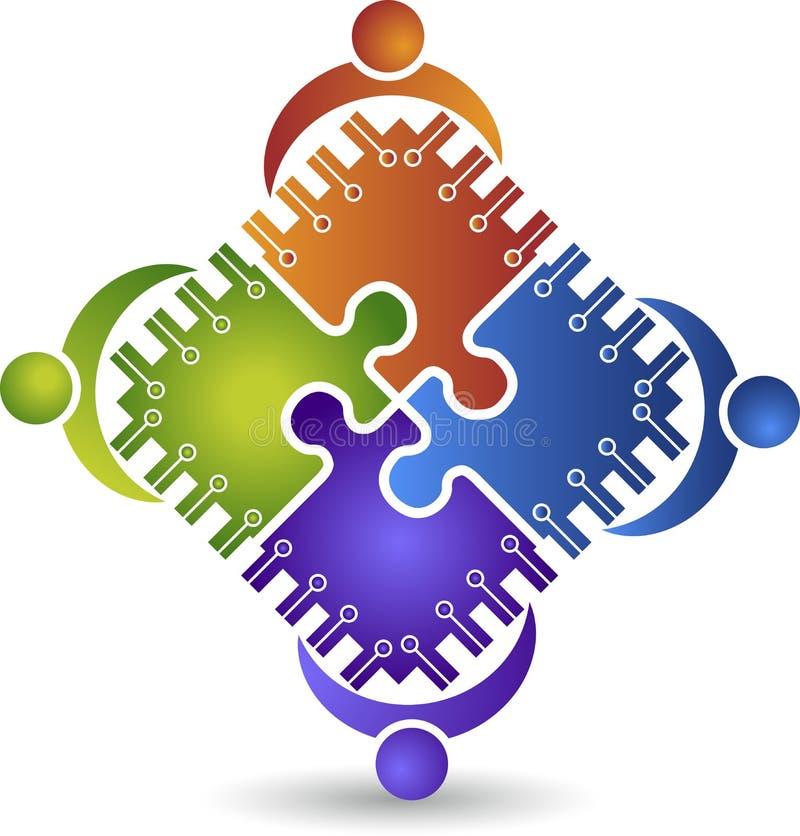 Circuit teamwork logo vector illustration
