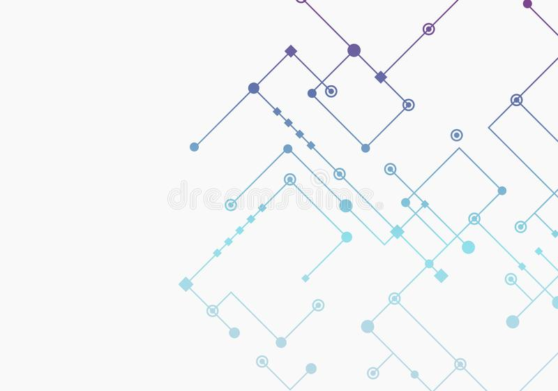 Circuit technology background, connected dots and lines. Vector abstract design stock illustration